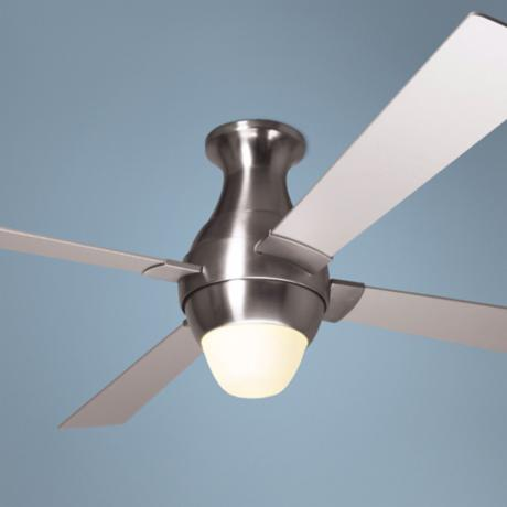 "56"" Modern Fan Gusto Nickel Hugger Ceiling Fan and Light Kit"