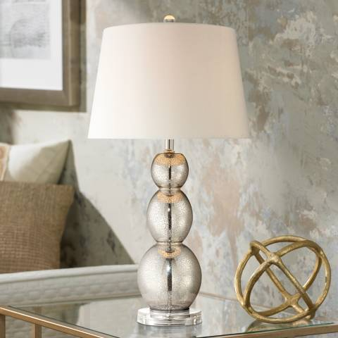 mercury glass triple gourd table lamp u5622 lamps plus. Black Bedroom Furniture Sets. Home Design Ideas