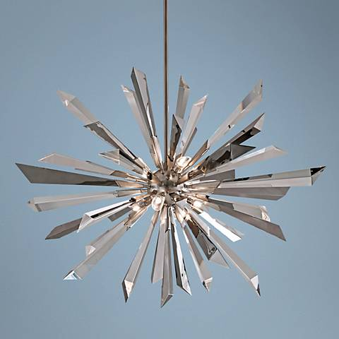 "Inertia Crystal and Stainless 48"" Wide Corbett Pendant Light"