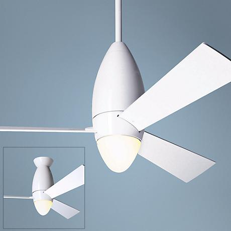 "52"" Modern Fan DC Slim Gloss White Ceiling Fan & Light"