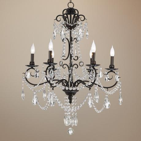 "6-Light Bronze 27 3/4"" Wide Crystal Chandelier"