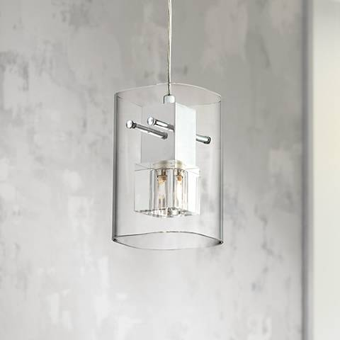 "Chrome with Clear Glass 4 3/4"" Wide Mini Pendant Light"