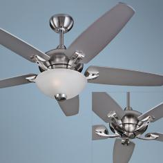 "44"" Versio II Brushed Steel Ceiling Fan with Light Kit"