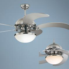 "52"" Monte Carlo Centrifica Brushed Steel Ceiling Fan Light"