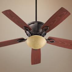 "52"" Quorum Stanton Sienna Patio Ceiling Fan with Light Kit"