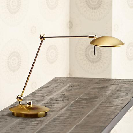 Brushed Brass Adjustable Holtkoetter Pharmacy Desk Lamp
