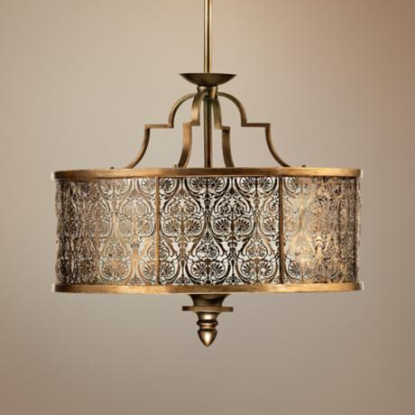 "Quorum French Damask 24"" Wide Vintage Pewter Pendant Light"