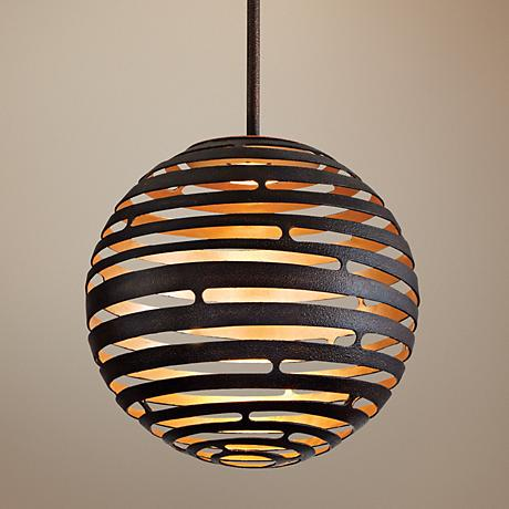 "Tango Textured Bronze 12"" Wide Corbett LED Pendant Light"