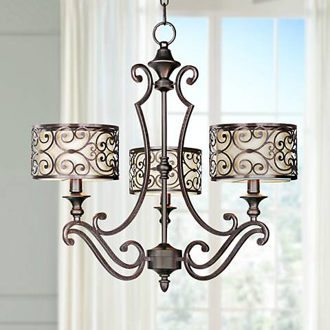 "Maxim Mondrian 24 1/2"" Wide 3-Light Bronze Chandelier"
