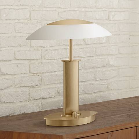 "Mini Brushed Brass-Satin Glass 12 1/4"" Holtkoetter Desk Lamp"