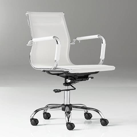 Lealand White and Chrome Low Back Desk Chair