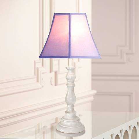 Purple and White Candlestick Base Table Lamp