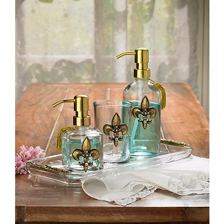 3-Piece Gold Fleur de Lis Bathroom Accessory Set