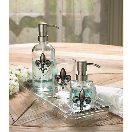 3-Piece Silver Fleur de Lis Bathroom Accessory Set