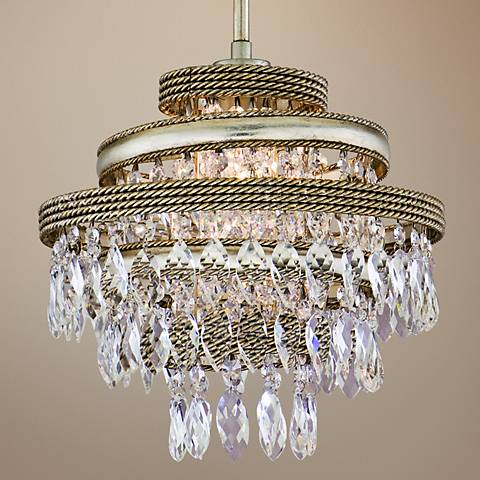"Diva Silver Gold and Crystal 12"" Wide Corbett Pendant Light"
