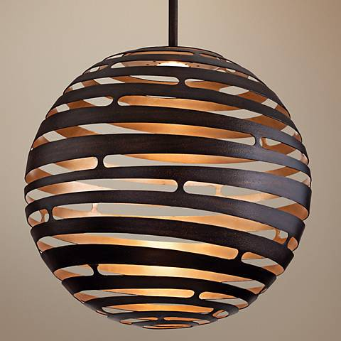 "Tango Textured Bronze 23"" Wide Corbett LED Pendant Light"