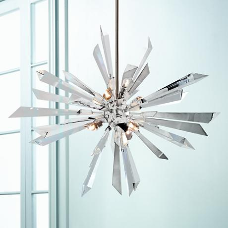 "Inertia Crystal and Stainless 36"" Wide Corbett Pendant Light"