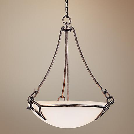 "Pompeii 3-Light 24"" Wide Etched White Glass Pendant Light"