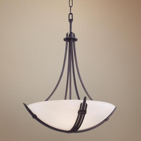 "Kendo 3-Light 21 3/4"" Wide  Wrought Iron Pendant Light"