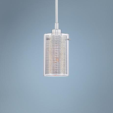 "George Kovacs Grid II 10"" High Chrome Mini Pendant"