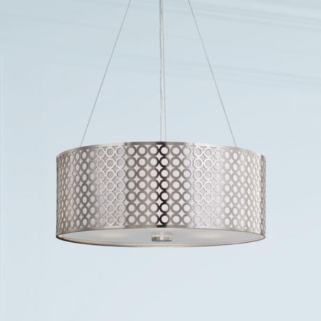"Lite Source 20"" Wide 3-Light Polished Steel Pendant Light"