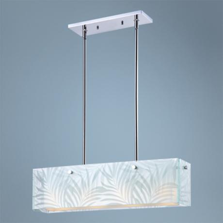"Silhouette Palms Chrome Glass 28 1/2"" Wide Pendant Light"