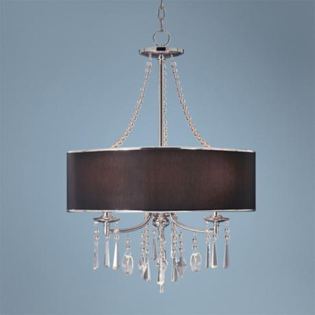 "Echelon Crystals and Black Shade 21"" Wide Pendant Light"