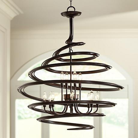 "Franklin Iron Works™ 30 3/4"" Wide Swirl Chandelier"
