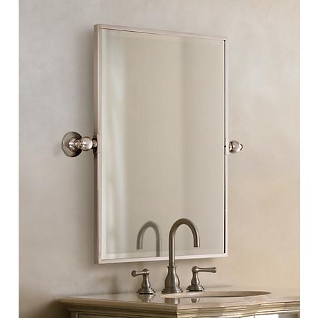 "Minka 24"" High Rectangle Brushed Nickel Bathroom Wall Mirror"