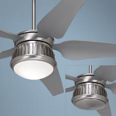"52"" Possini Euro Prowler Steel Damp Rated Ceiling Fan"
