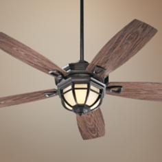 "52"" Quorum Belvedere Bronze Patio Ceiling Fan with Light Kit"
