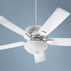 "52"" Quorum Marsden Studio White Patio Ceiling Fan with Light"
