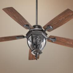"52"" Quorum Baltic Granite Patio Ceiling Fan with Light Kit"