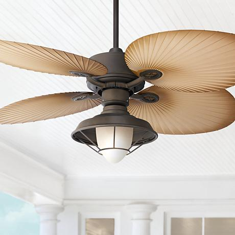 "52"" Casa Vieja Aerostat Wide Palm Bronze Outdoor Ceiling Fan"