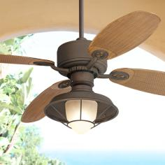 "52"" Casa Vieja Aerostat ABS Rattan Outdoor Ceiling Fan"