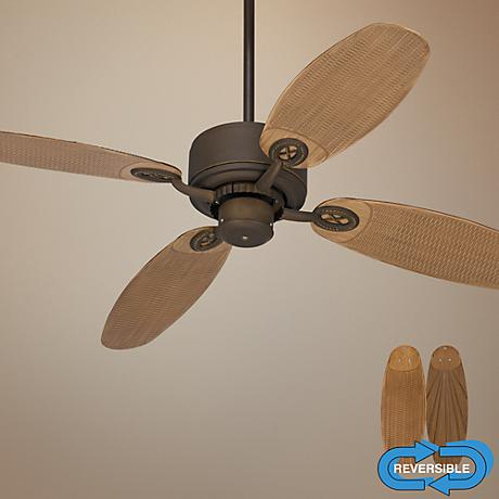 "52"" Casa Vieja Aerostat Rattan Bronze Outdoor Ceiling Fan"