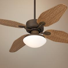 "52"" Casa Vieja Aerostat Weave Outdoor Ceiling Fan with Light"