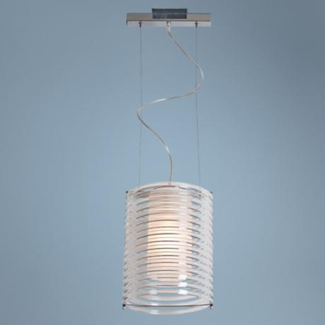 "Enzo10"" Wide Clear Acrylic and Chrome Pendant Light"