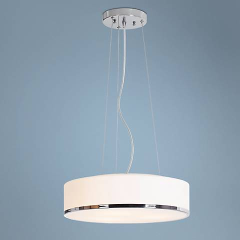 "Aero 15 3/4"" Wide Opal Glass and Chrome Pendant Light"