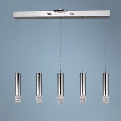 "ET2 Bangle 34 1/4"" Wide 5-Light Chrome Pendant Light"