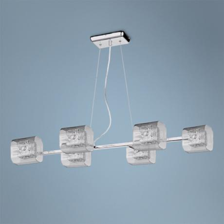 "ET2 Gem 37 1/2"" Wide 6-Light Polished Chrome Pendant Light"