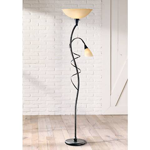 wavia torchiere floor lamp with reading light v1174 lamps plus. Black Bedroom Furniture Sets. Home Design Ideas
