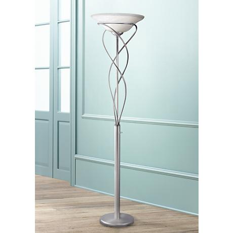 Lite Source Majesty Satin Steel Torchiere Floor Lamp