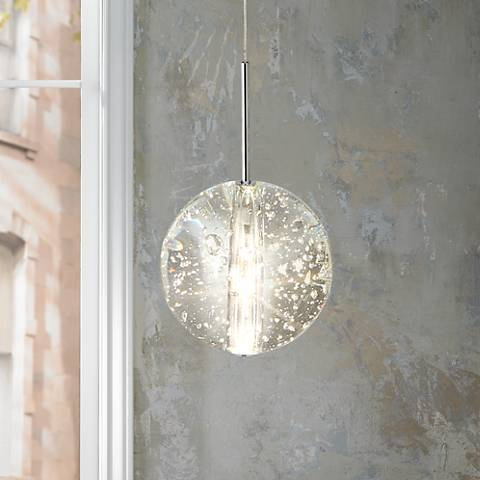 "ET2 Orb 4 1/2"" Wide Clear Bubble Glass Mini Pendant"