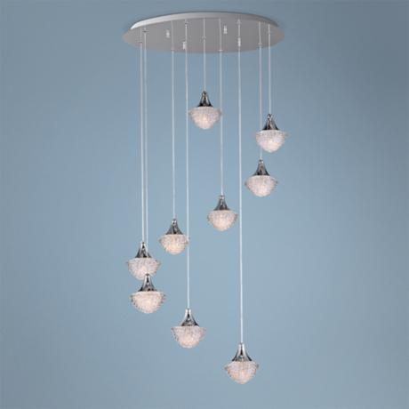 "ET2 Blossom 21 3/4"" Wide 9-Light Clear Crystal Pendant Light"