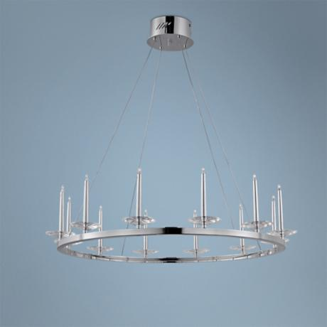 "ET2 Circolo 31"" Wide 12-Light Chrome Pendant Light"