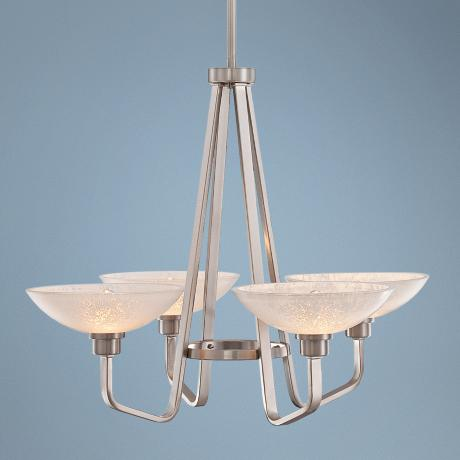 "Phoenix Brushed Nickel 29"" Wide 4-Light Quoizel Chandelier"