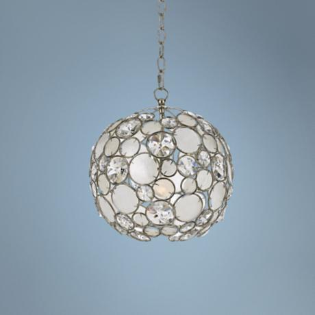 "Crystorama Palla 13"" Wide Antique Silver Pendant Light"