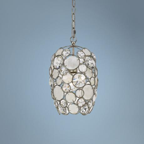 "Crystorama Palla 8 1/2"" Wide Antique Silver Pendant Light"