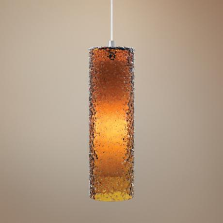 "LBL Rock Candy Amber Glass 4 3/4"" Wide Pendant Light"